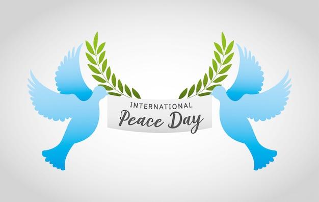 Internationale dag van de vrede met duif cartoon Premium Vector