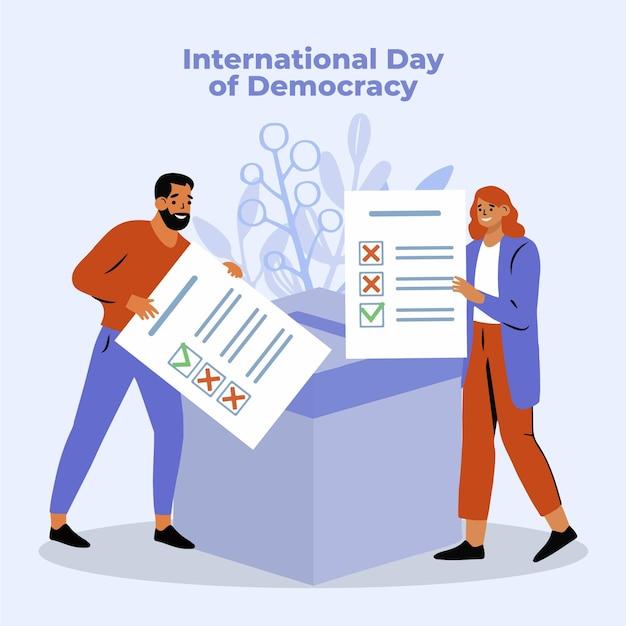 Internationale dag van democratie met mensen Gratis Vector