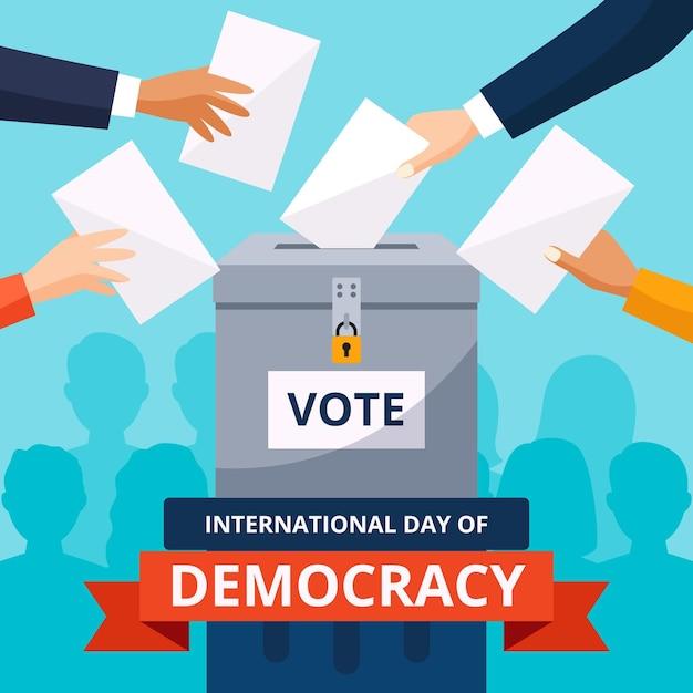 Internationale dag van democratieontwerp Gratis Vector
