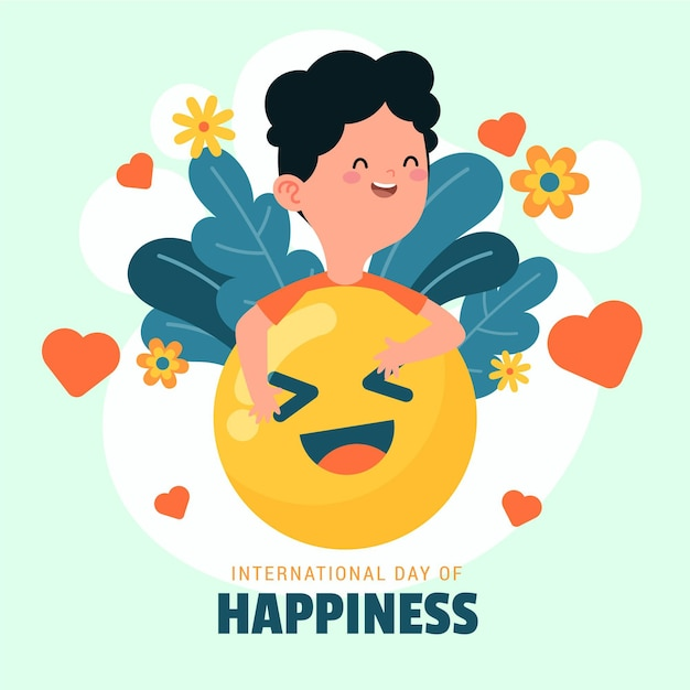 Internationale dag van geluk illustratie met emoji en persoon Gratis Vector
