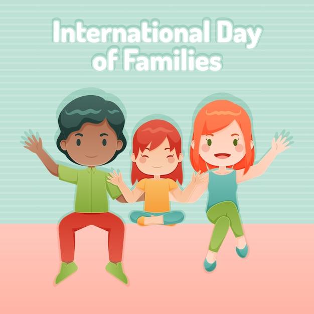 Internationale dag van gezinnen in plat design Gratis Vector