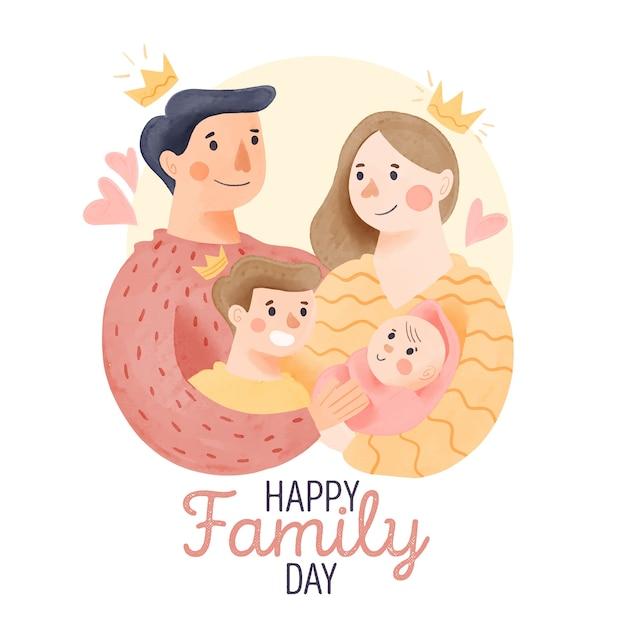 Internationale dag van gezinnen met ouders en kinderen Gratis Vector