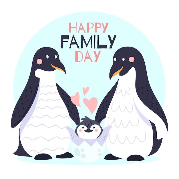 Internationale dag van gezinnen met pinguïns Gratis Vector