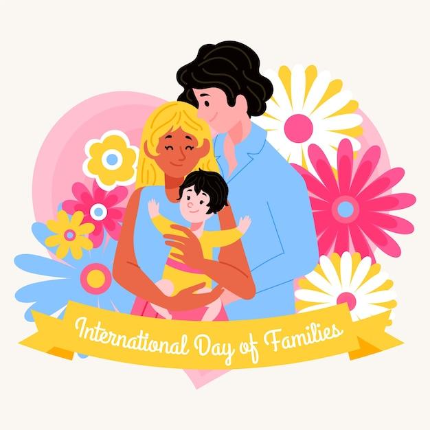 Internationale dag van gezinnen tekenen Gratis Vector