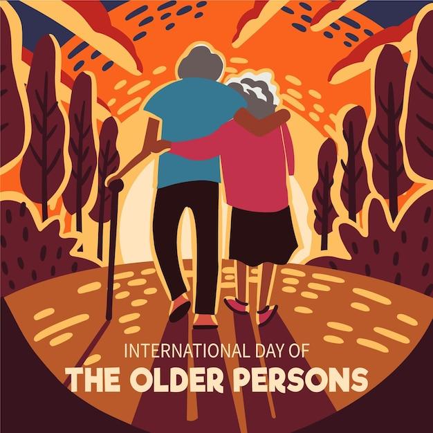 Internationale dag van het ouderenevenement Premium Vector