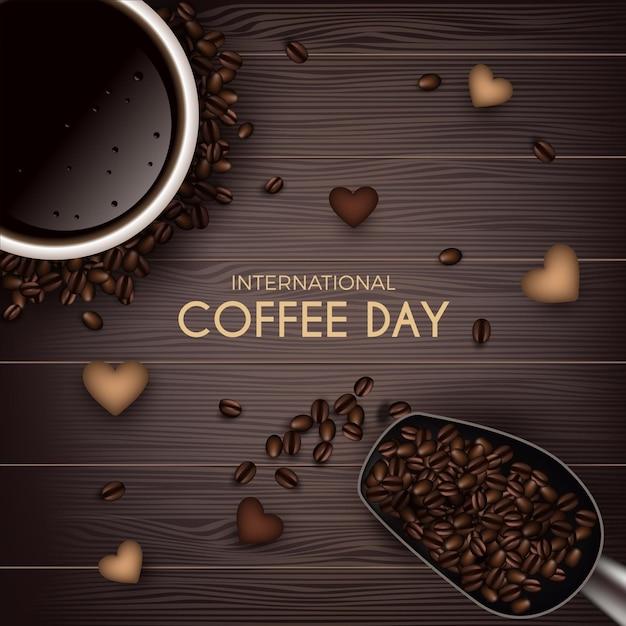 Internationale dag van koffie bovenaanzicht Gratis Vector