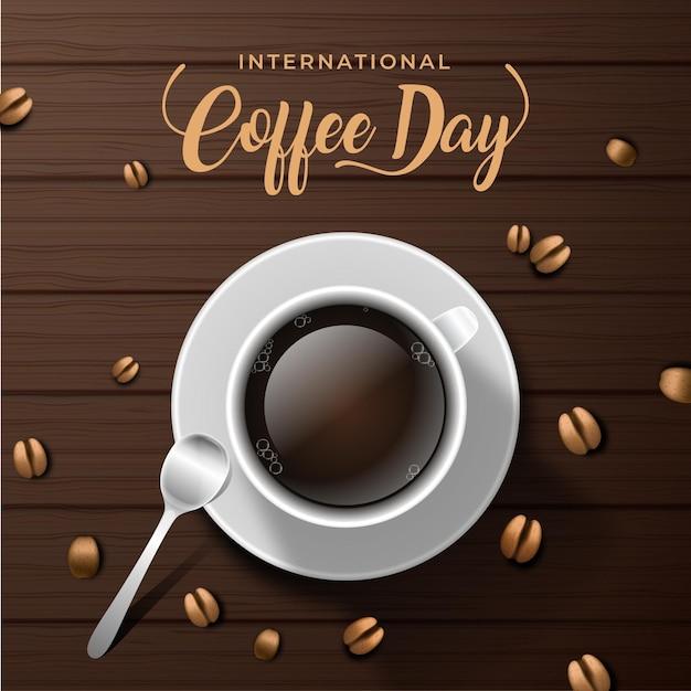 Internationale dag van koffievloeistof en koffiebonen Gratis Vector