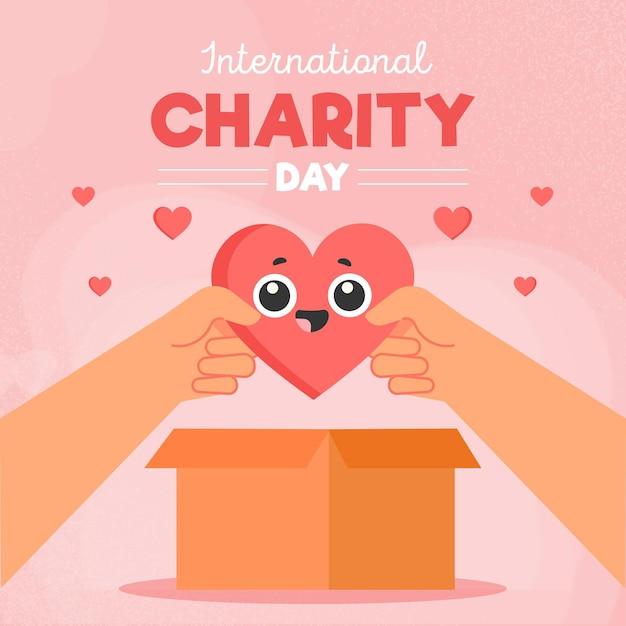 Internationale dag van liefdadigheid in platte ontwerp Gratis Vector