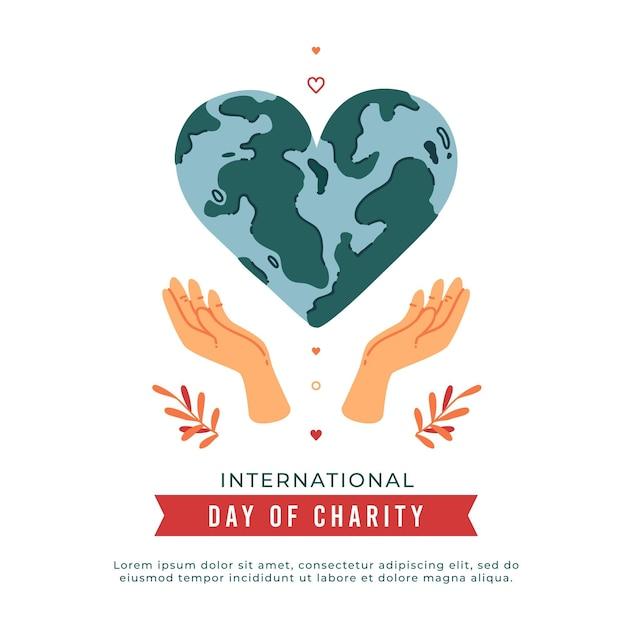 Internationale dag van liefdadigheid met hartvormige planeet Gratis Vector