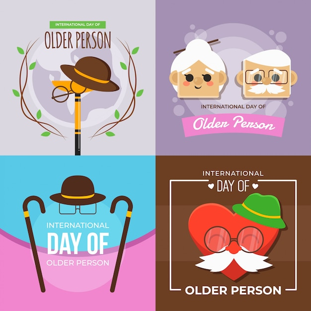 Internationale dag van oudere persoon illustratie Premium Vector