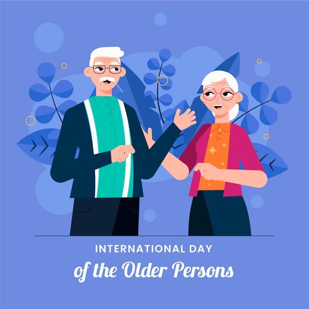 Internationale dag van ouderen concept Gratis Vector