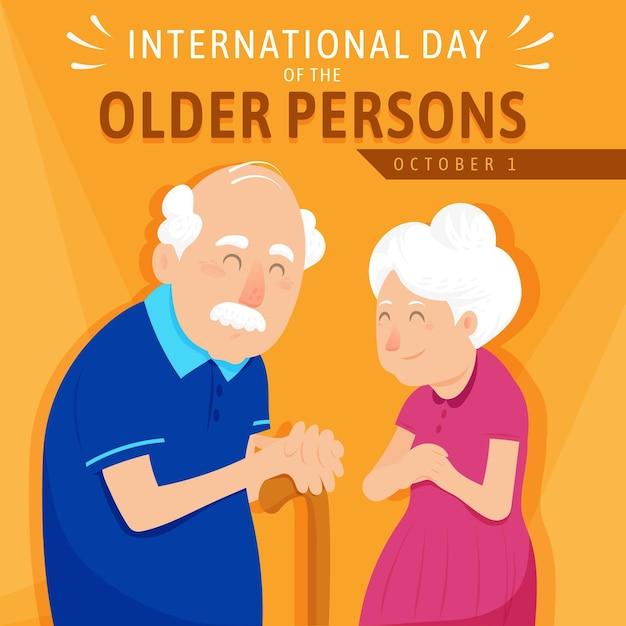 Internationale dag van ouderen Premium Vector