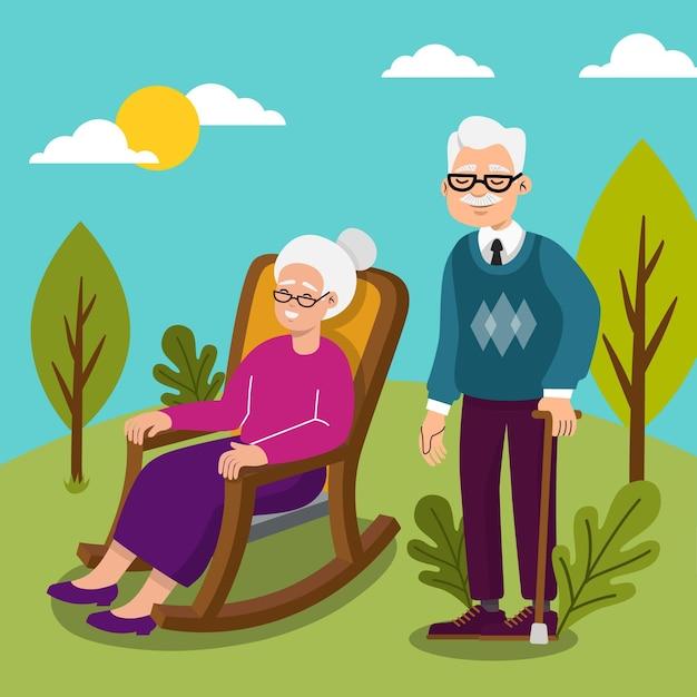 Internationale dag van ouderen Gratis Vector