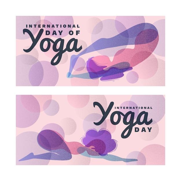 Internationale dag van yoga banner Gratis Vector