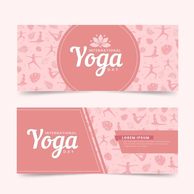 Internationale dag van yoga banners plat ontwerp Gratis Vector