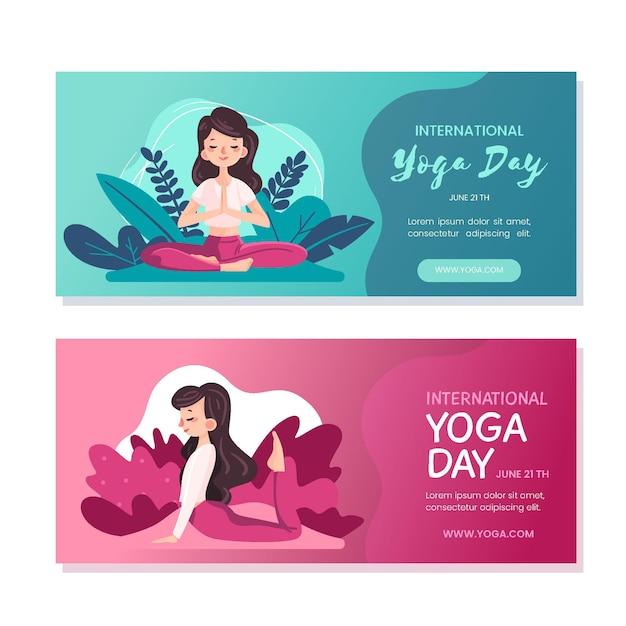 Internationale dag van yoga banners stijl Gratis Vector