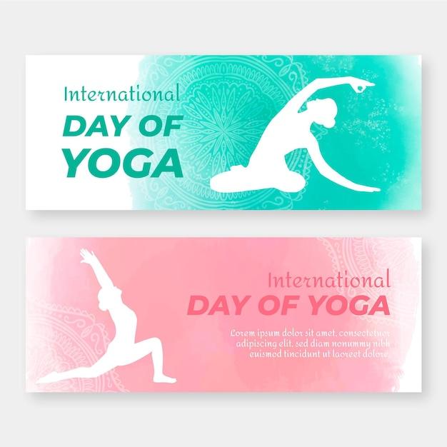 Internationale dag van yoga banners Gratis Vector