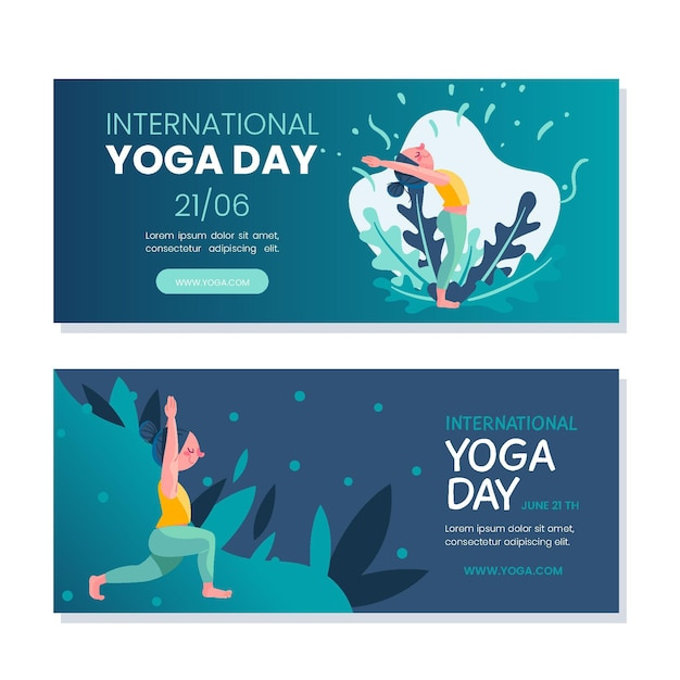 Internationale dag van yoga horizontale banners Gratis Vector