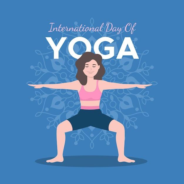 Internationale dag van yoga illustratie Gratis Vector