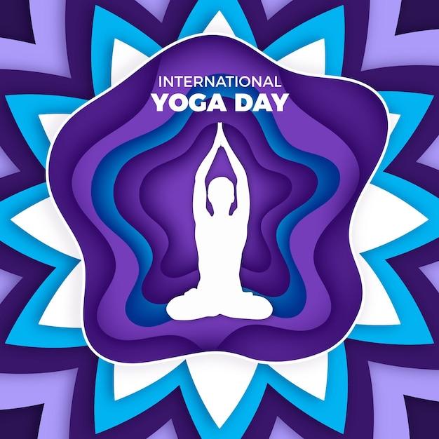 Internationale dag van yoga in papierstijl Gratis Vector
