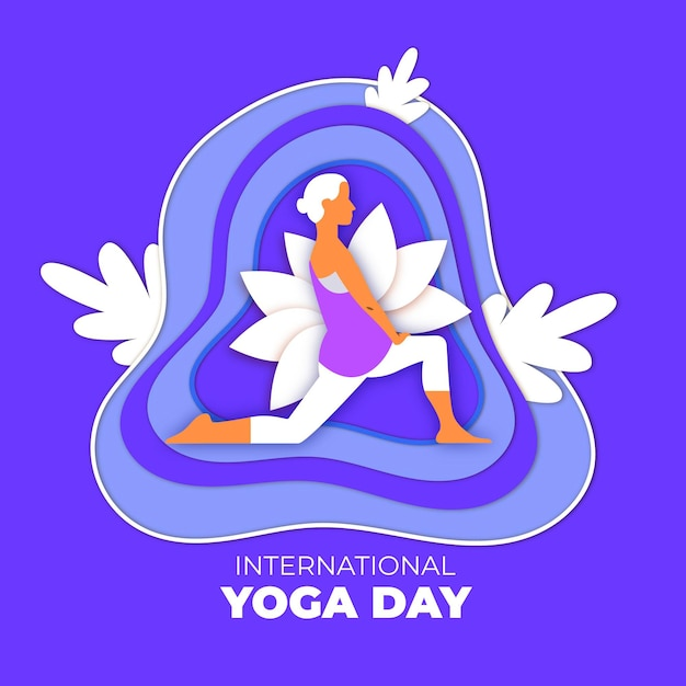 Internationale dag van yoga in papierstijl Gratis Vector