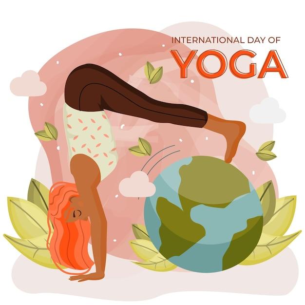 Internationale dag van yoga innerlijke vrede concept Gratis Vector