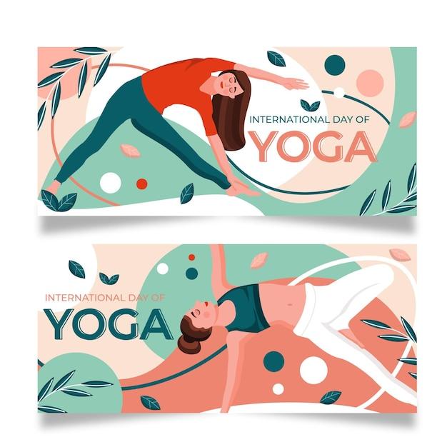 Internationale dag van yoga lichaam balans banner Gratis Vector