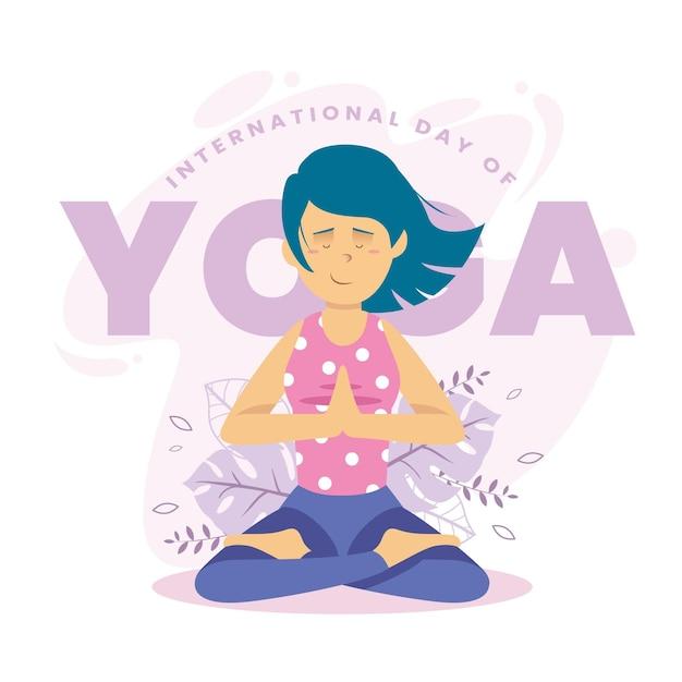 Internationale dag van yoga plat ontwerp Gratis Vector