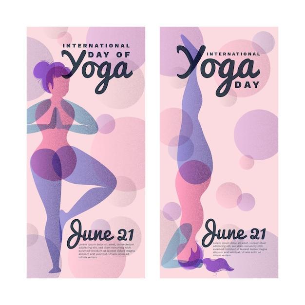 Internationale dag van yoga sjabloon voor spandoek Gratis Vector