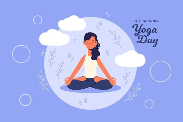 Internationale dag van yoga Gratis Vector