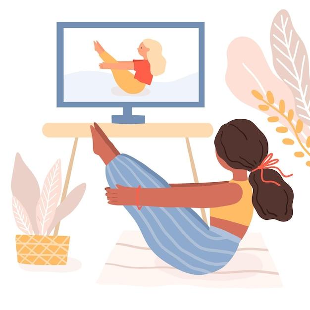 Internationale dag van yogahouding in online les Gratis Vector