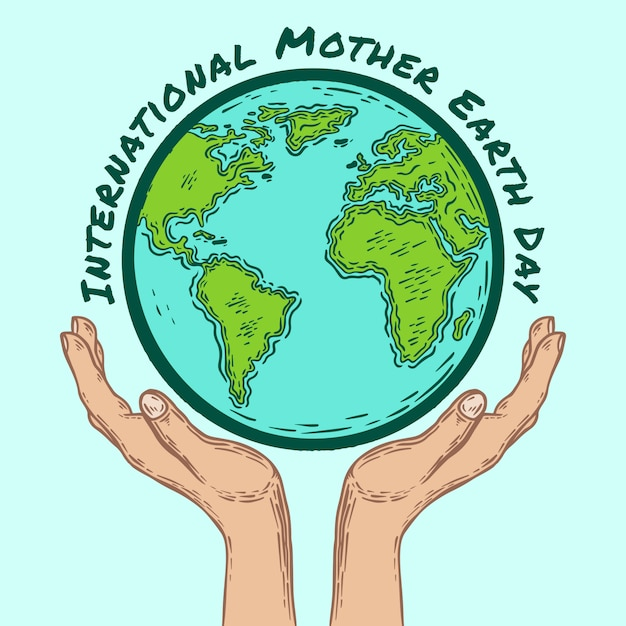 Internationale earth day hand drawn globe and hands Premium Vector