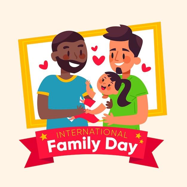 Internationale familiedag plat ontwerp Gratis Vector