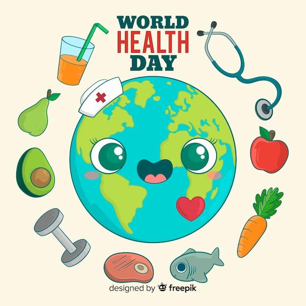 Internationale gezondheidsdag achtergrond Gratis Vector