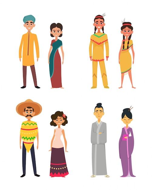 Internationale groep van mannen en vrouwen. tekens van verschillende nationaliteiten Premium Vector