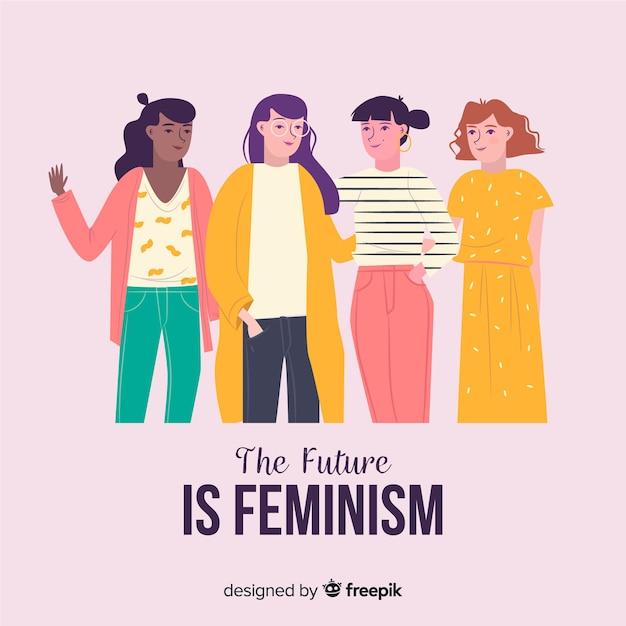 Internationale groep vrouwen met een plat ontwerp Gratis Vector