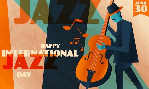 Internationale jazz-dag achtergrond Premium Vector