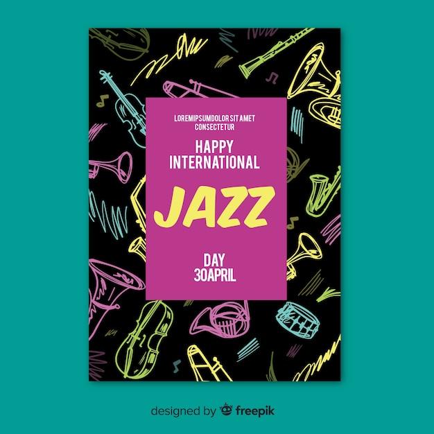 Internationale jazz dag poster sjabloon Gratis Vector