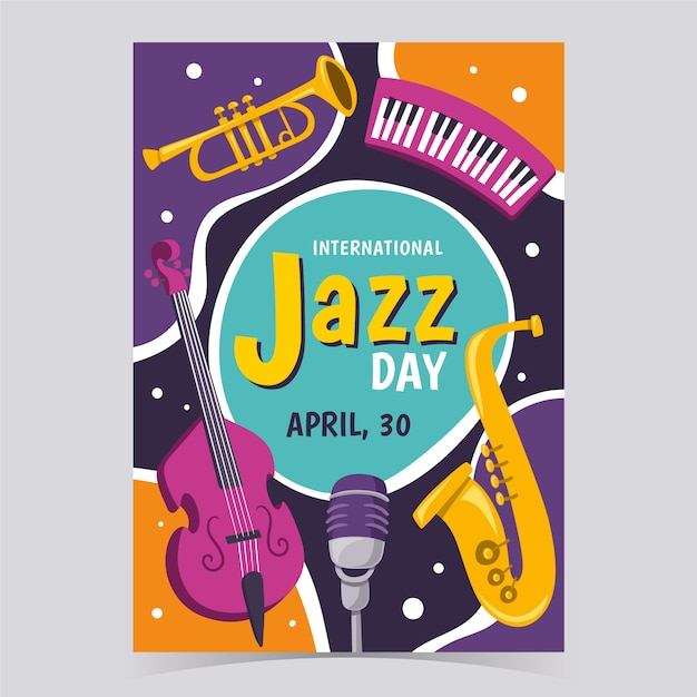 Internationale jazzdag flyer-sjabloon Gratis Vector