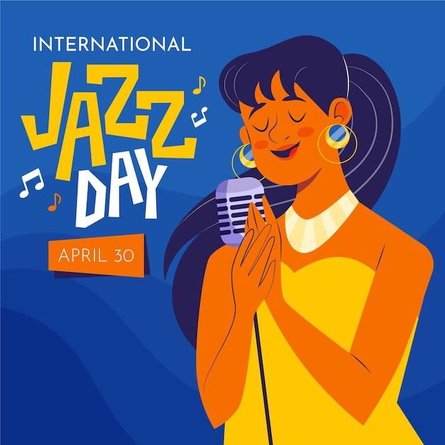 Internationale jazzdag illustratie met zingende vrouw Gratis Vector