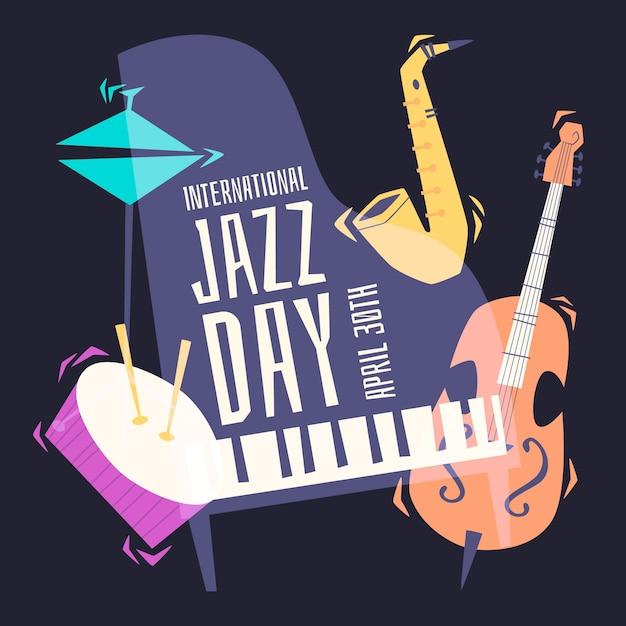 Internationale jazzdag in plat design Gratis Vector