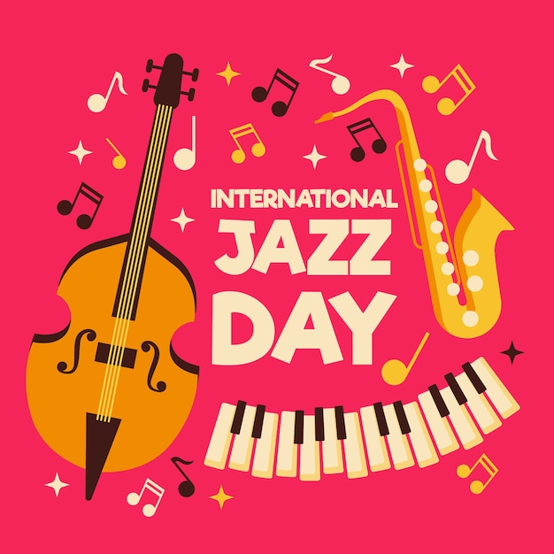 Internationale jazzdag in vlakke stijl Gratis Vector