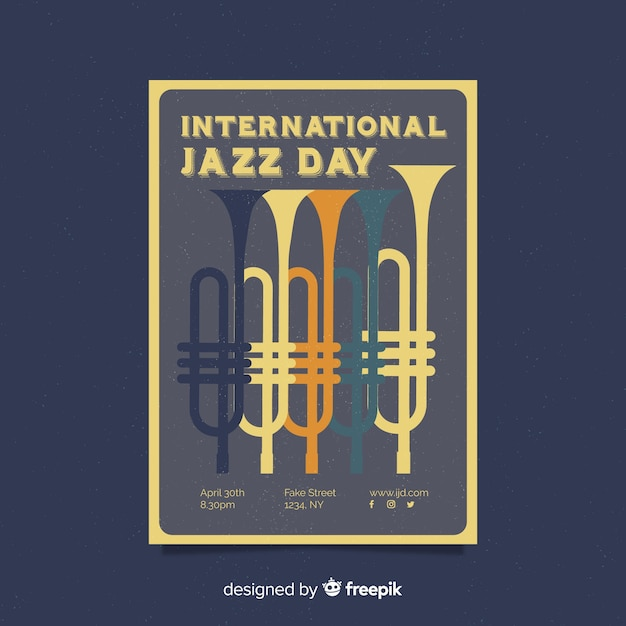 Internationale jazzdag retro vintage flyer / poster Gratis Vector