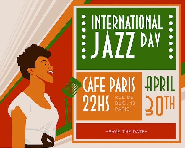 Internationale jazzdag sara Premium Vector