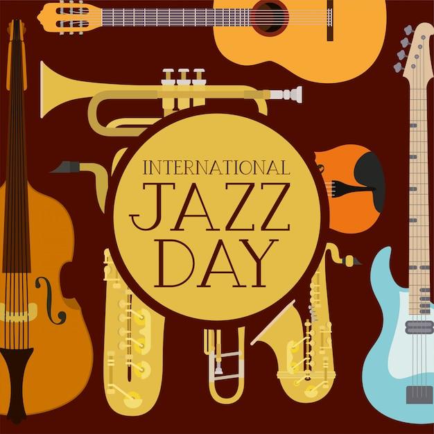 Internationale jazzdagaffiche met instrumenten Premium Vector