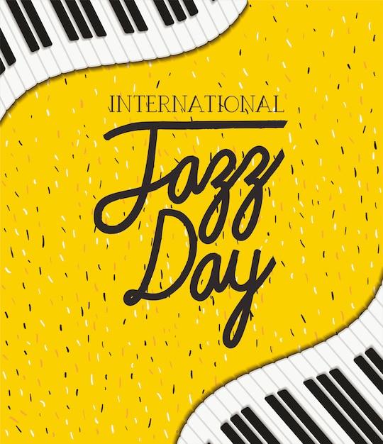 Internationale jazzdagaffiche met pianotoetsenbord Premium Vector