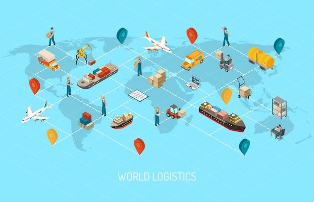 Internationale logistieke activiteiten over de hele wereld Gratis Vector