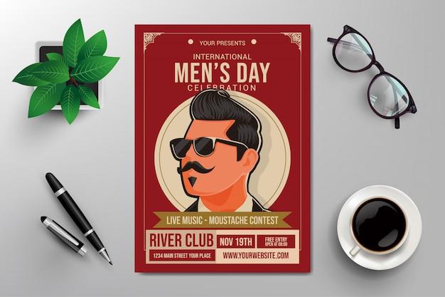 Internationale mannen dag folder sjabloon Premium Vector