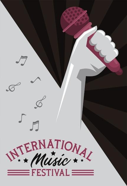 Internationale muziekfestivalaffiche met hand opheffende microfoon op grijze achtergrond Premium Vector
