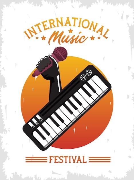 Internationale muziekfestivalaffiche met handmicrofoon en piano Premium Vector